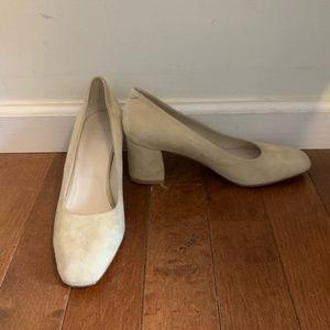 Maryam Nassir Zadeh bone suede block heels